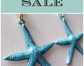Blue Starfish Earrings, Summer Jewelry - Blue hand painted starfish earrings - Nautical, SALE