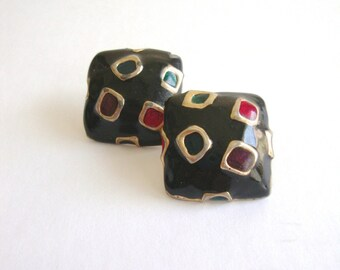 Vintage Enamel Earrings / Sale 75% off / Squares / 90s / 80s/ Gold Squares / Funky / Abstract
