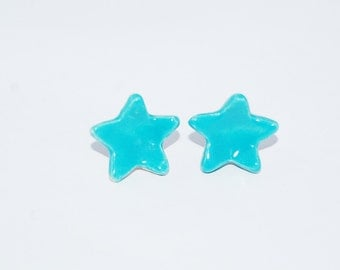 Star Earrings - Blue Star Earrings - Ceramic Earrings -  Post  Earrings - Handmade Ceramic Post Earrings