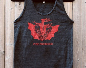 Game of Thrones // Targaryen Sigil // Fire And Blood // 3 Headed Dragon Unisex Tank Top