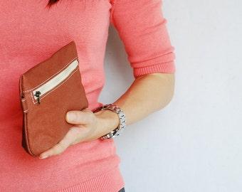 SALE 20% - Piggy Pouch in Waxed OA Brown - Zipper Pocket / Purse / Wallet / clutch / cosmetic bag / iphone case / Sun Glasses