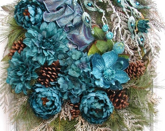 Elegant Winter Wreath Large After Christmas Fall Wreath Teal Blue Silk Floral Decoration Pine Cones Peonies Magnolia Luxe Front Door Wreath
