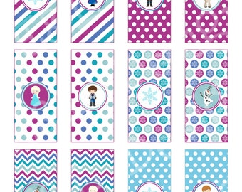 Frozen MIni Candybar Wrappers,Instant Download, Printable