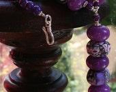 Purple Magnesite and Jade Jewelry Set, Pendant Necklace and Earrings, Unusual, Bold Semi Precious Gemstone Jewellery, Statement Piece