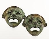Bronze Greek Theatre Mask, Ancient Greek Drama Actors Mask, Tragedy Mask, Bronze Sculpture, Museum Quality Art Sculpture, Collectible Art