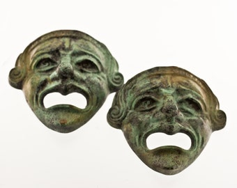 Bronze Greek Theatre Mask, Ancient Greek Drama Actors Mask, Tragedy Mask, Bronze Sculpture, Museum Quality Art Sculpture, Collectible Art
