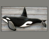 KILLER WHALE  wood art 40'' wood carving sculpture, nautical art, Orca wall mount, whale art, beach decor, seashore, ocean decor, 40 inch