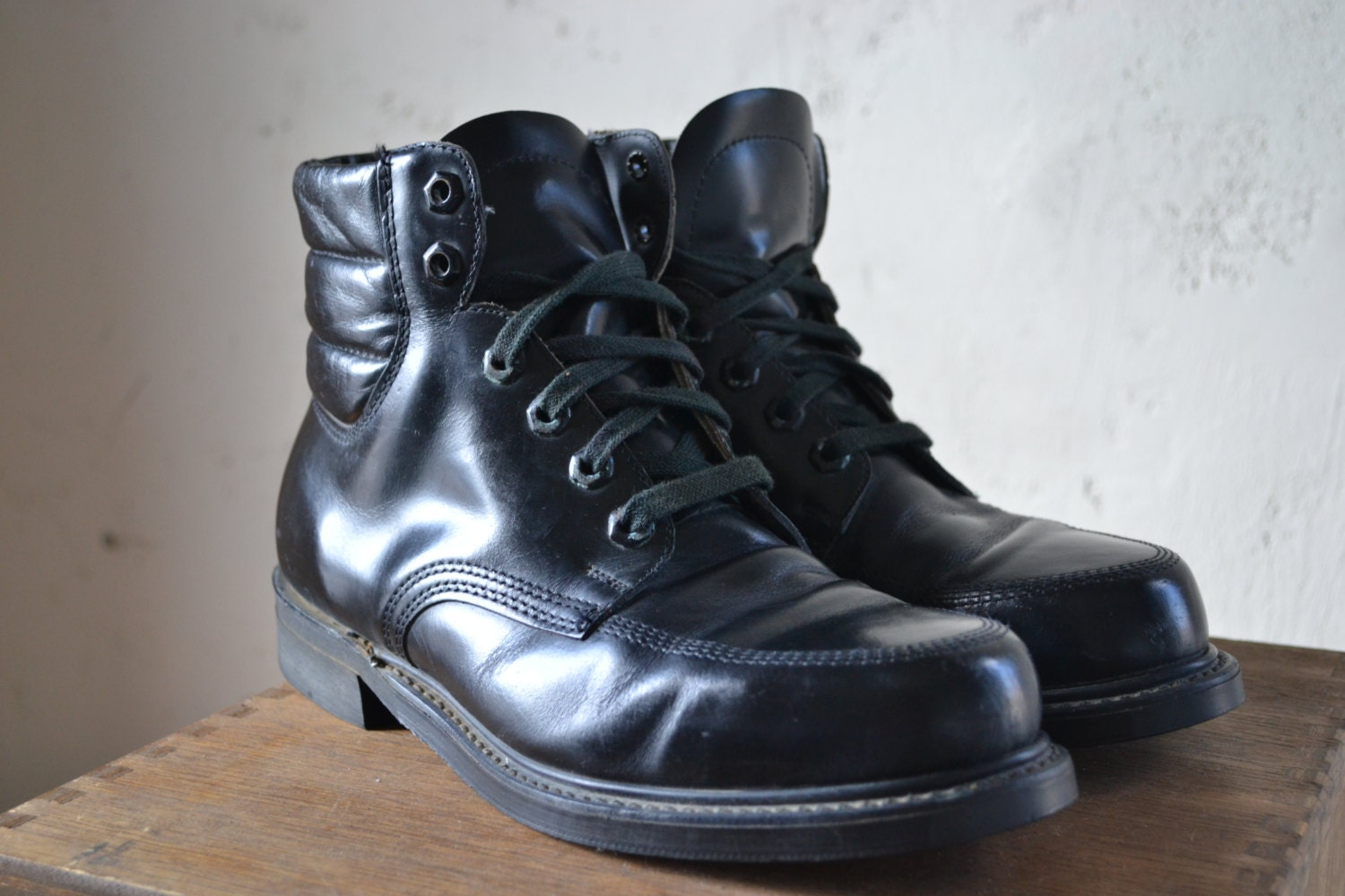 vintage knapp made in america black leather combat by