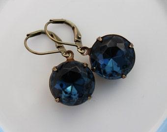 Navy blue earrings, round earrings, dark blue earring, Montana earrings, deep blue earrings, Fall wedding, bridesmaid earrings MBO01
