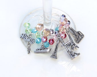 Travel Wine Charms, Hostess Gift, Party Favor, Party Gift, Wine Lover Gift, Girls Night In, Drink Charm, Gifts Under 25, Gifts For Women