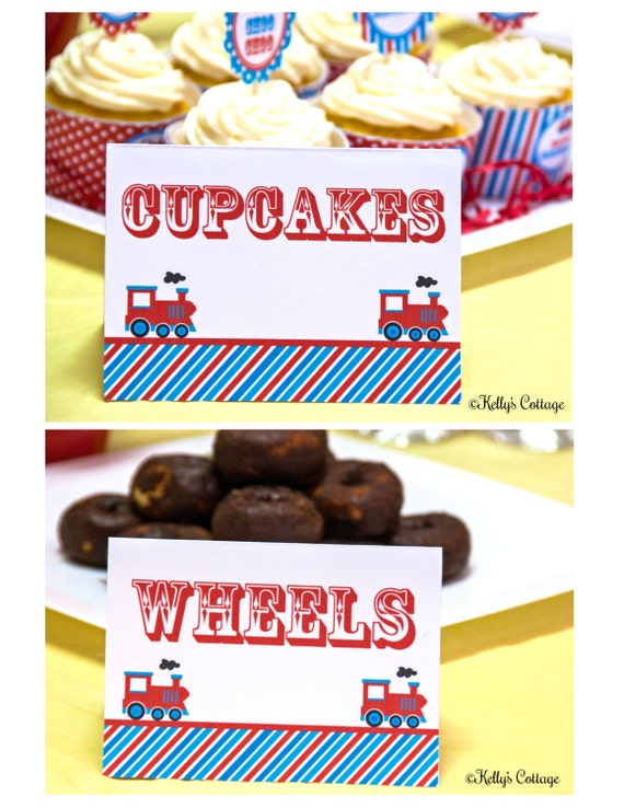 Vintage Train Birthday Party Labels, Instant Download, Printable, Food Tags, Place Cards, Party Signs