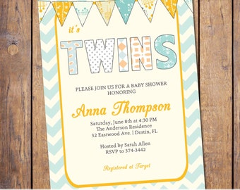 twins baby shower invitations for twins, chevron, orange and turquoise with banner, gender neutral (item26)