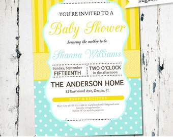 Printable Gender Neutral Shower Invitation, yellow and aqua baby shower invitation, modern shower, digital, printable invitation (JPD187)