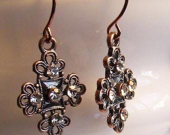 SALE - Copper Cross & Rhinestones Earrings - Gifts Under 25, 50, 75, 100