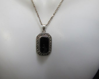 Onyx, Sterling and Marcasite Pendant and Sterling Chain