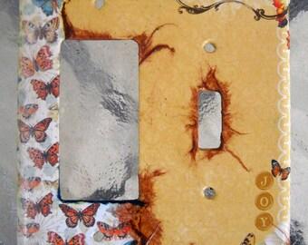 Butterfly Dream Decoupage Double Toggle/Rocker Light Switch Plate