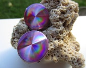 Great Pair of Iridescent Purple Clip Disc Earrings