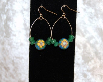 Faceted Emerald & Antique Cloisonne Earrings - Upcycled -  Gemstone