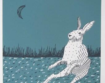 Midnight Blue Hares original art screen print