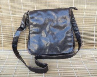 Vintage Brown Faux Leather Shoulder Strap Messenger Bag Cross Body