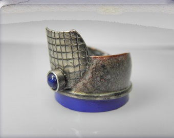 FREE SHIPPING, enameled copper silver ring with lapis lazuli is contemporary jewelry