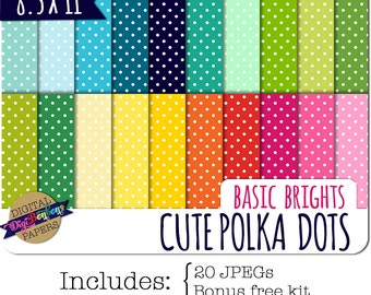 Polka Dot Digital Paper, INSTANT DOWNLOAD, Commercial use ok, bright colors, 8.5 x 11 US Letter, digital scrapbooking papers