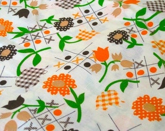"Vintage Fabric - Daisies & Tic-Tac-Toe - By the Yard x 44""W - Retro - Sewing Material - Craft Supply - Yardage"
