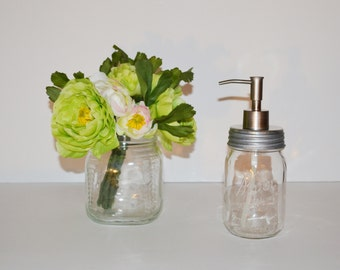 Mason Jar Soap Dispenser Clear Vintage Kerr Pint Size Mason Jar Soap Dispenser Silver Brushed Stainless Steel Soap Pump