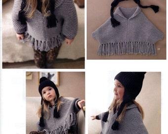 ENGLISH Easy Kid Poncho and Ear flap Hat Beginner Knitting Pattern PDF