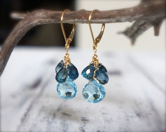 Blue topaz earrings. Gold filled london blue topaz earrings. Swiss blue topaz briolette earrings. Blue gemstone earrings. MADE TO ORDER.