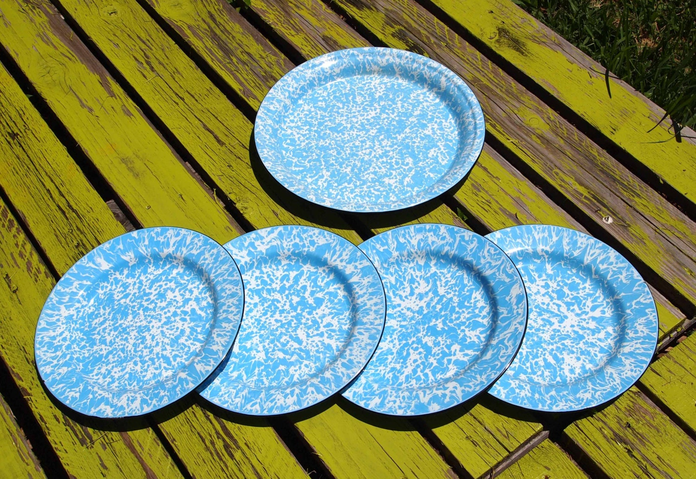 Tin Camping Plates 6 Marbelized Blue Tin Plates Blue