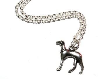 Greyhound Necklace, Dog Jewelry, Silver Greyhound Charm, Dog Pendant, Greyhound Jewelry, Animal Necklace, Pet Dog Charm, Dog Lover Necklace