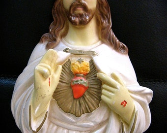 Vintage SACRED HEART JESUS Chalkware plaque-  Perfect for your Religious Collection