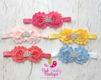 PICK 1 Princess Baby Headband, Tiara Headband, Baby Headbands, Cinderella Inspired Baby Bows, Newborn Headband, 54 COLORS, Baby Hair Bows