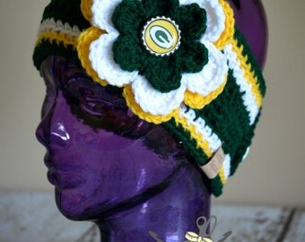 MADE 2 ORDER - Green Bay Packers Inspired Flower Earwarmer Headband with Logo Center - 3 sizes available - Toddler through Adult