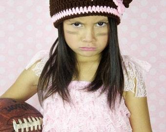 Football beanie girls crochet football beanie girls crochet hat toddler girls crochet hat crochet beanie football beanie football flower hat