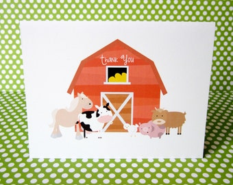 Farm Barnyard Thank You Note Stationery Cow Pig Old MacDonald