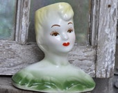 Blonde Bombshell Head Vase 1950's Unique  Unmarked Great Condition