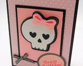 Handmade Greeting Card, Birthday, Sparkling Skull, Pink and Black , Embossed