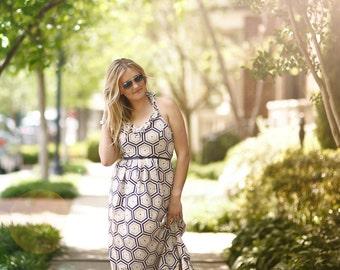 Emmaline Womens Misses Maxi Dress PDF Pattern Tutorial,  Ebook, Epattern, Sizes XXS-XXL included.
