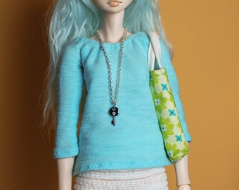 Turquoise outfit: shirt, skirt, tote bag, and necklace, for MSD BJD / Obitsu body 1/3 (47 cm/18,5 in)