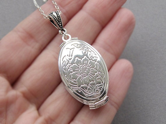 Silver Locket Necklace 4 Frame Locket Folding Four By
