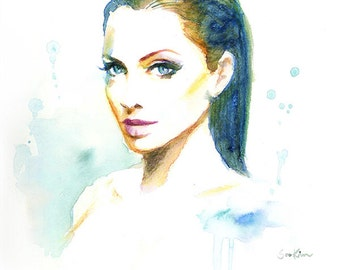 Angelina Jolie Watercolor Painting Illustration Print