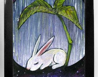 Bunny Rabbit Art, Any Size Print, Leaf Poster, Rainy Day, Large Wall Art, Animal Illustration, White Rabbit Gift, Bedroom Decor, Galaxy Art