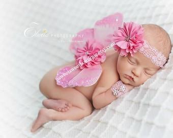 Newborn Butterfly Wings And Headband Set In Sweet Calliope Wings And Wristlet Set Beautiful Newborn Photo Prop