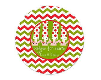 Cookies for Santa Plate - Personalized Melamine Plate - Pancakes and Pajamas - Red and Green Chevron