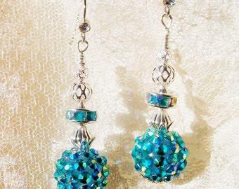 "Handmade BLUE AB EARRINGS - ""Razzle Dazzle"" - Aqua Ab Rhinestone Beads & Spacers w/Silver, Disco Balls, Perfect Holiday Jewelry"