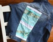 Teal Jean Jacket, Upcycled, Girls Medium Jacket, Geometric shapes,