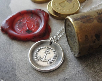 Anchor Wax Seal Necklace Hope Sustains Me - antique wax seal charm jewelry - inspirational nautical anchor necklace