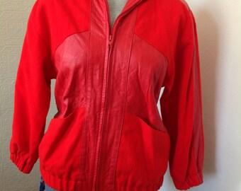 Red Hot Vintage Leather Bomber Jacket SM